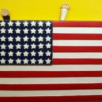 """""""USA flag"""" by Piergiuseppe Pesce (tecnica mista su tela, 20 x 20 cm, 2014)"""