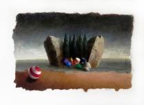 """Isola"" by Ciro Palumbo, olio su carta cm. 50x70"