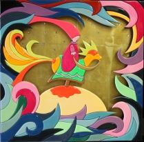 """""""Cavaliere a cavallo"""" by Massimo Sansavini, doppio intarsio su legno laccato cm 60x60"""