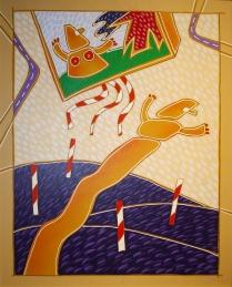 """"""" Manichini"""" by Giuliano Ghelli – acrilico su tela, 40 x 50 cm, anni '70"""