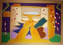 """"""" Manichini Innamorati"""" by Giuliano Ghelli – acrilico su tela, 50 x 70 cm, anni '70"""