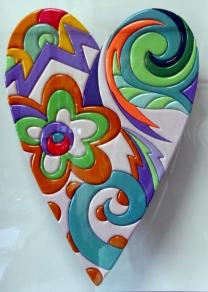 """""""Heart"""" by Massimo Sansavini, intarsio su legno laccato 42x30 cm incorniciata in box in plaxiglass"""