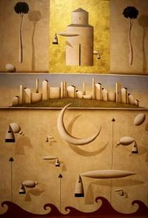 """""""Oltre le più rosee previsioni"""" by Carlo Mirabasso (tecnica mista su tavola, 50 x 70 cm, 2012)"""