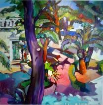 """""""Giardino del sud"""" by Claudio Malacarne, olio su tela di lino cm 120 x 100"""