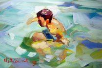 """""""Acquatico"""" by Claudio Malacarne, olio su tela di lino cm 20 x 30"""