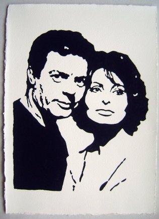 """Piero Vinci: """"Marcello e Sofia"""" acrilico su carta d'Amalfi cm 26x36"""