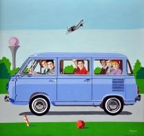 """""""Al Golf 1969"""" by Marco Arduini, acrilico e tempera su tavola cm 83x80"""
