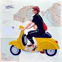 """""""Frammenti di viaggio"""" by Marco Arduini, acrilico e tempera su cartina geografica applicata a tela cm 80x80"""