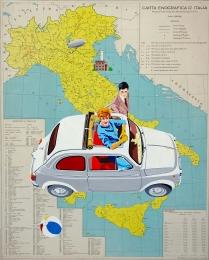 """""""Viaggio Divino"""" by Marco Arduini, tecnica mista su carta geografica spessorata anni'70 cm 86x69"""