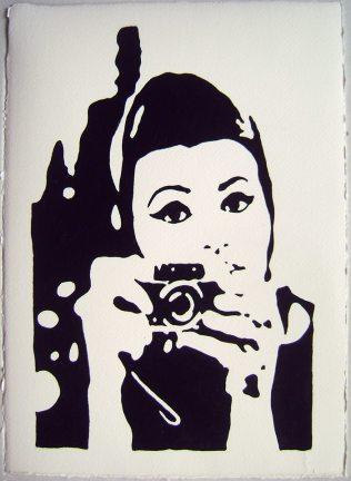 """Piero Vinci: """"Sofia Selfie"""" acrilico su carta d'Amalfi cm 26x36"""