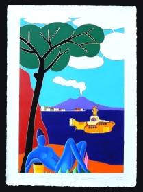 Giancarlo Montuschi tecnica mista su carta d'Amalfi 52x72cm