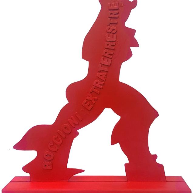 """Enrico Manera """"Boccioni extraterrestre"""" - scultura in legno dipinta"""