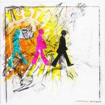 "Enrico Manera ""Yesterday"" acrilico su tela 150x150cm"