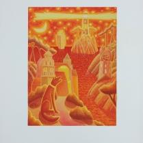 """Luca Dall'Olio """"Desideri...""""olio e foglia oro su carta di Amalfi 72x52 cm"""