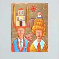"""Luca Dall'Olio """"Tutto è cominciato lì"""" olio su carta di Amalfi 72x52 cm"""