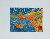 """Luca Dall'Olio """"Pescatore di Stelle"""" olio su carta di Amalfi 72x52 cm"""