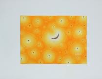 """Luca Dall'Olio """"Notte di sogno gialla""""olio e foglia oro su carta di Amalfi 52x72 cm"""