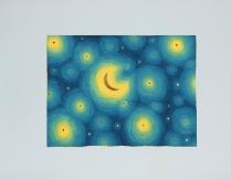 """Luca Dall'Olio """"Notte di sogno blu""""olio e foglia oro su carta di Amalfi 52x72 cm"""