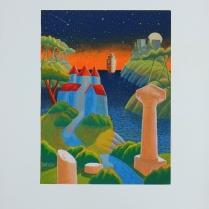 """Luca Dall'Olio """"Verso un nuovo mondo"""" olio su carta di Amalfi 72x52 cm"""