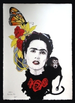 "Fabio Govoni""Frida Hayek"" T.mista su carta d'Amalfi ""Amatruda"" 50x70 cm"